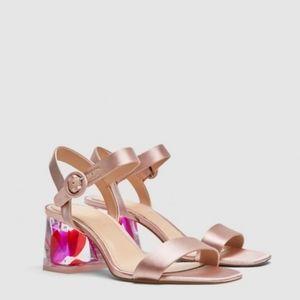Zara satin clear block heel sandals